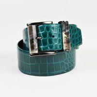 Oscar de la Renta Green & Gunmetal Gray Alligator Leather Wide Waist Belt SZ M