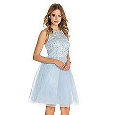 Pale Blue Glitter Mesh Flower Prom Dress