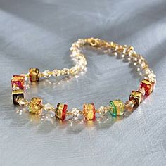 Venetian Gold Infused Glass Necklace