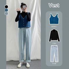Korean Girl Fashion, Korean Street Fashion, Korea Fashion, Look Fashion, Kpop Outfits, Teen Fashion Outfits, Korean Outfits, Cute Casual Outfits, Simple Outfits