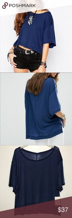 4bc5af8244a NWT FREE PEOPLE Oversized Penny Tee Ink Blue Top NWT FREE PEOPLE Oversized  Penny Tee Ink