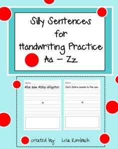 These 26 silly sentences will engage your students and make them smile as they practice their handwriting skills. Each page has a silly senten. Kindergarten Language Arts, Teaching Language Arts, Kindergarten Writing, Teaching Writing, Writing Activities, Improve Your Handwriting, Handwriting Practice, Silly Sentences, 1st Grade Writing