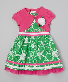 This pretty pair takes the work out of finding a matching outfit so little ladies can focus on important business like twirling, skipping and smiling—activities made even easier thanks to the frock's A-line fit and comfy cotton fabric. The matching shrug shows off a dainty flower for a classically darling look.