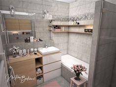 Návrh interiéru bytu Romantika v akcii, pohľad na kúpeľňu od záchoda Double Vanity, Bathroom, Nostalgia, Washroom, Full Bath, Bath, Bathrooms, Double Sink Vanity