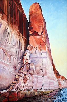Mel's Crack, 36x24, Oil, Lake Powell by Ron Larson Oil ~ 36 x 24