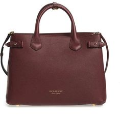 b3214a549bae Burberry Leather Handbag Tote Satchel in Mahogany Red