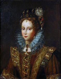 Does anyone know this portrait? Queen Elizabeth I, according to the link, dressed up in a rather Spanish 17th century Saya.....