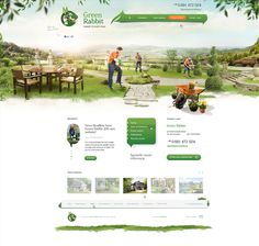 Website for GreenRabbit. Gardening services: design and establishment of gardens. Logo was provided by client.
