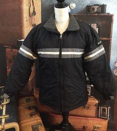 Vtg B.U.M. Bum Equipment Ski Puffer Zip Jacket Coat Black White Stripe Sz M  | eBay