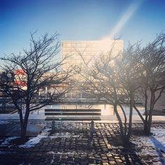 Frostklar morgen med sne og is på havnen. #snowday #bryggen #havnebad #vinterbad #delditkbh #deldinby #islandsbrygge #københavn #københavnshavn #københavnerliv #copenhagen #cphlove