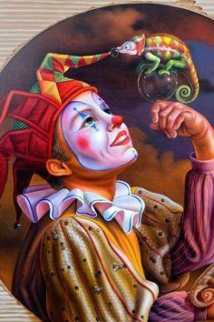 Circus Art, Circus Theme, Art Du Cirque, Clown Paintings, Vintage Clown, Send In The Clowns, Night Circus, Surrealism Painting, Surreal Art