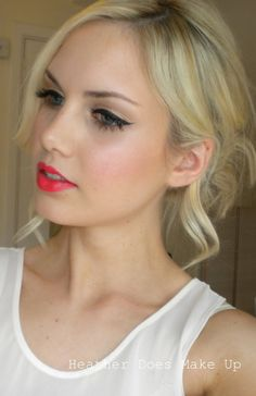 Kayden: Winged liner and dewy skin, but with softer lips.