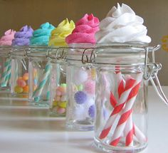 Fake Cupcake Candy Shoppe Classic Swirl Ed. Glass Jars Set 4 Original 12 Legs Concept Often Imitated, Never Duplicated