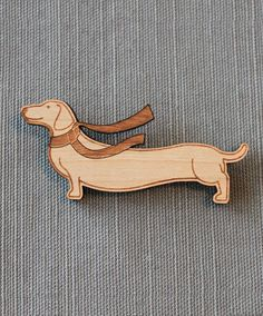 Dachshund and Scarf Pin - winter wiener dog brooch