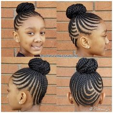 Little Girl Braid Styles, Little Girl Braid Hairstyles, Black Kids Hairstyles, Kid Braid Styles, Little Girl Braids, Braided Bun Hairstyles, Baby Girl Hairstyles, Natural Hairstyles For Kids, African Braids Hairstyles