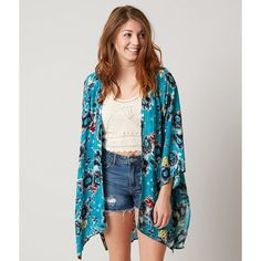 Billabong Be My Light Cardigan - Blue/Turquoise M/L ($60) ❤ liked on Polyvore featuring tops, cardigans, side slit top, blue cardigan, billabong tops, kimono cardigan and billabong cardigan