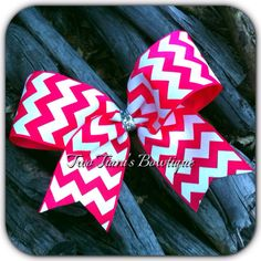 Pink and White Chevron Cheer Bow  on Etsy or Facebook by Two Tiara's Bowtique