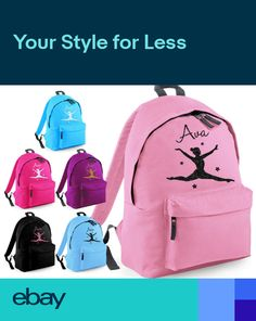 8bd71f22cb PERSONALISED GIRLS GYMNASTICS DANCE GLITTER BACKPACK KIDS SCHOOL BAG  RUCKSACK