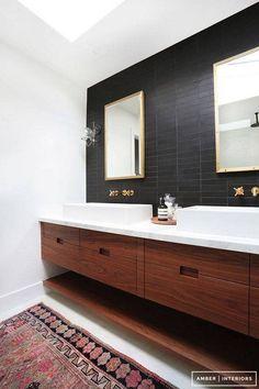 black accent walls black tile bathroom