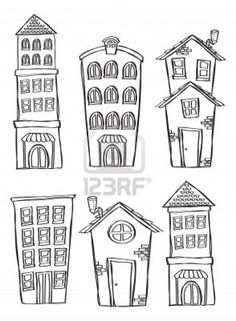 Set of building in doodle style Stock Photo