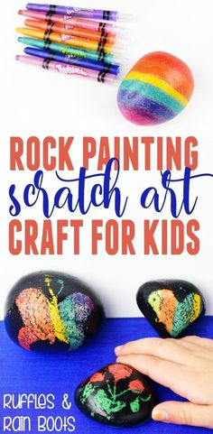 This is such a fun craft! Scratch art rock painting is easy, fun, and you already have everything you need. #rockpainting #rockpaintingtutorial #scratchart #kbn #craftsforkids #rockpaintingbeginners #rockpaintingideas #paintedstone #paintedpebbles #rufflesandrainboots Fun Crafts, Diy And Crafts, Crafts For Kids, Rock Crafts, Painting For Kids, Art For Kids, Rock Painting, Easy Sewing Projects, Craft Projects