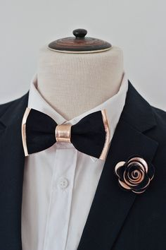 Rose Gold and navy blue suede genuine leather bow tie for men,boys rose gold wedding bow tie boutonnere, midnight dark blue  toddler bowtie, by NevesticaWeddings on Etsy