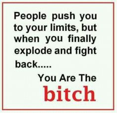 People push you to your limits... but when you finally explode and fight back... YOU are the b*tch.
