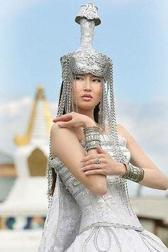 Mongolian girl in traditional costume.