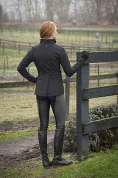 Cold at the horse show? FITS Allie Jacket can double as a show coat when you need wind/water/warmth control.