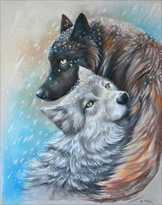 Winter wolves by artibird on DeviantArt Anime Wolf, Pet Anime, Anime Animals, Baby Animals, Cute Animals, Artwork Lobo, Wolf Artwork, Wolf Love, Wolf Mates
