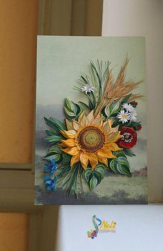 Neli Quilling Art: Picture - sunflower ( 15 cm / 24 cm )