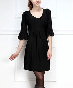 Take a look at the Ice Silk Black Ruffle Three-Quarter Sleeve Dress on #zulily today!