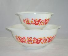 Set of 2 Vintage Pyrex Cinderella Friendship Pattern Nesting/Mixing Bowls