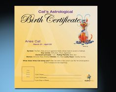 Aries Cat Astrological Birth Certificate - Aries Pets.