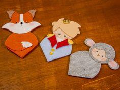 A turminha reunida: passo a passo em feltro de marcadores de página do Pequeno Príncipe, da raposa e da ovelhinha