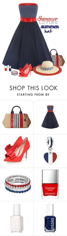 """Red, White & Blue"" by molly2222 on Polyvore featuring Tommy Hilfiger, Juicy Couture, KG Kurt Geiger, Pandora, Butter London, Essie and summerhat"