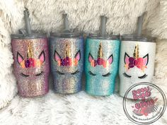 Glittery white tumbler adorned with a cute little unicorn face. This 14 oz tumbler features a screw on lid, straw and 3 options to drink out of. Glitter Bomb Mail, Glitter Cups, Glitter Face, Glitter Lipstick, Glitter Girl, Diy Tumblers, Custom Tumblers, Glitter Tumblr, Diy Vinyl Projects