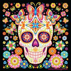 Sugar Skull Art: Colorful Day Of The Dead Art By Thaneeya Mcardle . Sugar Skull : Colorful Day of the Dead by Thaneeya McArdle - Art Sugar Skull Wallpaper, Sugar Skull Artwork, Sugar Skull Painting, Body Painting, Sugar Skull Images, Sugar Skull Costume, Colorful Skulls, Candy Skulls, Sugar Skulls