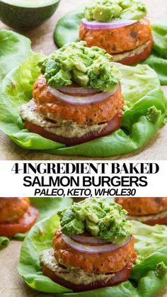 Salmon Burger Toppings, Salmon Sandwich, Salmon Burgers, Keto Salmon, Baked Salmon, Whole30 Salmon Recipes, Spinach Recipes, Healthy Recipes, Healthy Eats