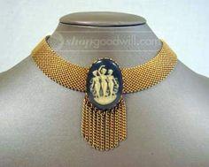 #cameo #artdeco #necklace http://www.shopgoodwill.com/auctions/Three-Graces-Cameo-Art-Deco-Choker-28144568.html