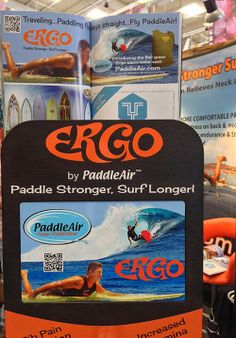 Close-up of display and Slide Magazine ad in the PaddleAir Ergo booth at The Boardroom International Surfboard Show, May 17-18, 2014, Del Mar Fairgrounds, California.