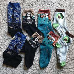 art socks, starry night socks, mona lisa socks, munk shout socks, avocado socks, tumblr, softgrunge style