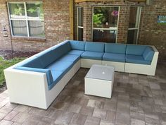 Ohana's White Wicker and Sunbrella Mineral Blue Deep Seating Sectional & Coffee Table / Ohana Wicker Furniture
