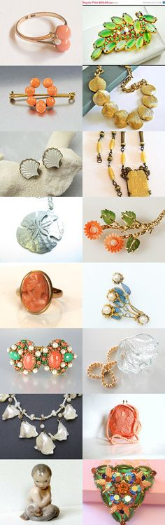 Spring Bling for the Littlest Mermaid #voguet #OurBoudoir #vintage. Coral, pearls, shells and kelp; crystals, sea glass and gold; all in the treasure chest of the littlest mermaid!  Beautiful oceanic selections, courtesy of the Vintage Vogue Team and shop of the day, OurBoudoir -- congratulations, Kate!  Curator: Anna Ragland from https://www.etsy.com/shop/baublology