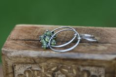 Rustic Sterling Silver Peridot earrings-tiny faceted by Tribalis