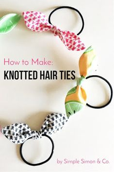Learn how to make hair ties using fabric. A quick and easy beginner sewing project. Free sewing pattern for knotted hair Easy Sewing Projects, Sewing Projects For Beginners, Sewing Hacks, Sewing Tutorials, Sewing Tips, Sewing Crafts, Diy Projects, Tie Template, Leftover Fabric