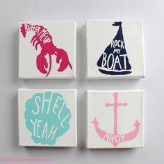 Set Of Four Canvses With Sailboat, Lobster, Clam Shell, And Anchor - Four…