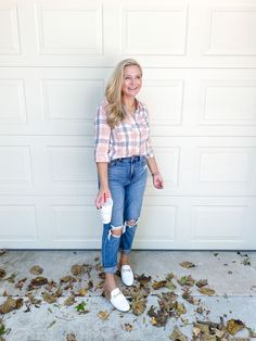 Cute Fall Outfits by popular Houston fashion blog, Fancy Ashley: image of a woman wearing a plaid top, distressed jeans, and faux fur lined white slide mules. October Outfits, Ashley S, Cute Fall Outfits, Outfit Posts, Distressed Jeans, Mom Jeans, Women Wear, Fancy, Style Inspiration