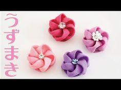 つまみ細工のうずまきのお花【丸つまみ】How to make tsumami kanzashi flower Ribbon Art, Diy Ribbon, Fabric Ribbon, Fabric Flowers, Ribbon Flower, Handmade Flowers, Handmade Crafts, Diy Crafts, Handmade Headbands