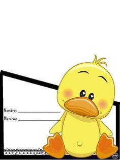 Fichas de Primaria: Portadas para cuadernos Duck Illustration, Duck Pictures, Duck Cartoon, Classroom Birthday, Printable Frames, Baby Shower Duck, Baby Bug, Classroom Labels, Baby Ducks